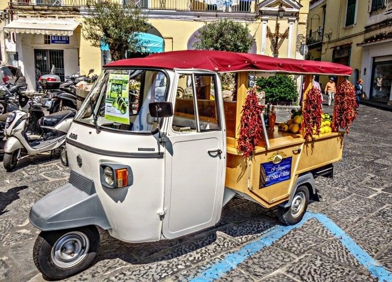 three wheels car Ischia vacation_villa italy